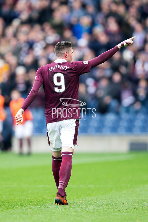 Kyle Lafferty (#9) of Heart of Midlothian acknowledges the crowd after scoring (1-0) during the Ladbrokes Scottish Premiership match between Heart of Midlothian and Rangers at Murrayfield, Edinburgh, Scotland on 28 October 2017. Photo by Craig Doyle.