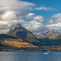 View of the town of Ushuaia, known as the End of the World or Fin del Mundo, on the Beagle Channel in Argentina.