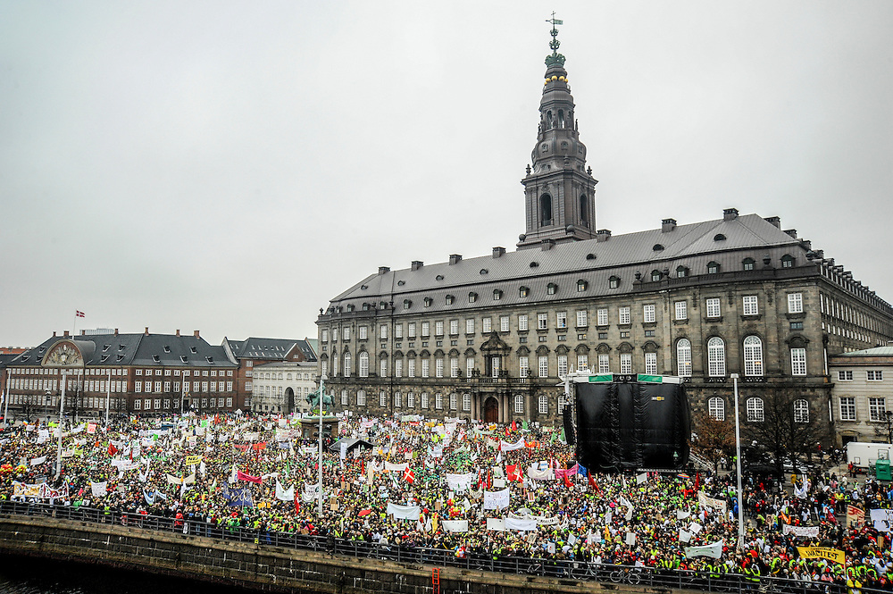 School Lockout protesters gather en masse outside the Danish parliament building Christiansborg Slot, or Christiansborg Castle.
