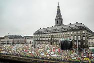 School Lockout protesters gather en masse outside the Danish parliament building Christiansborg Slot, or Christiansborg Castle.