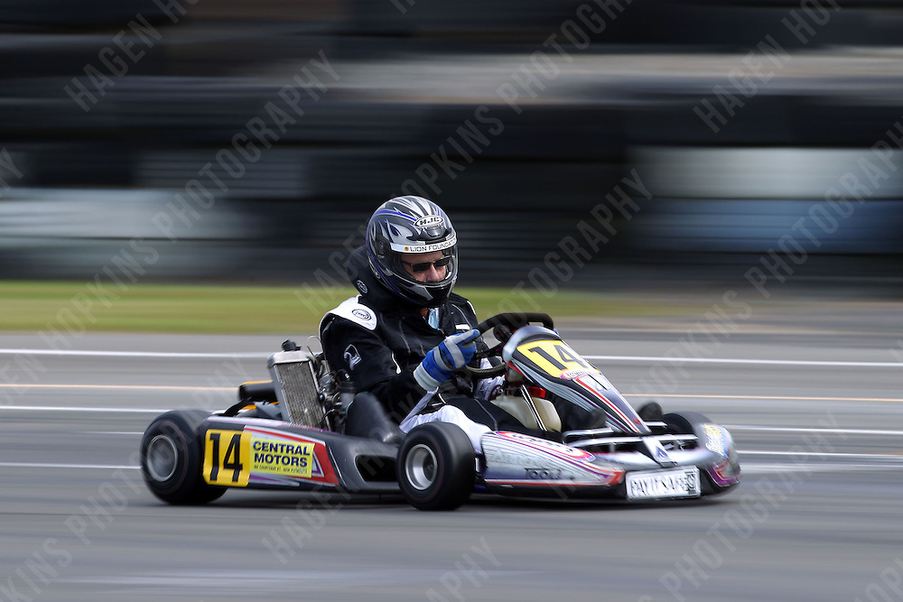 David Lundt, 14, races in the Rotax Light class during the 2012 Superkart National Champs and Grand Prix at Manfeild in Feilding, New Zealand on Saturday, 7 January 2011. Credit: Hagen Hopkins.