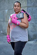 51 and has been boxing for 2 years Trainer Peterkin Berard. <br /> clynneo@gmail.com, she says it is very empowering and you always feel great after, you can feel your self getting stronger.
