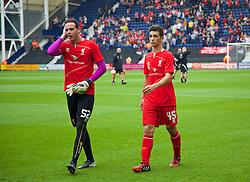 PRESTON, ENGLAND - Saturday, July 19, 2014: Liverpool's goalkeeper Danny Ward and Adam Philips before a preseason friendly match against Preston North End at Deepdale Stadium. (Pic by David Rawcliffe/Propaganda)