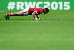 DTH van der merwe of Canada does some press ups  - Mandatory byline: Joe Meredith/JMP - 07966386802 - 01/10/2015 - Rugby Union, World Cup - Stadium:MK -Milton Keynes,England - France v Canada - Rugby World Cup 2015
