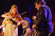 "The Whisky Rebellion's ""Shaky"" Dave Pollack, right, with fiddler Kari Denis."