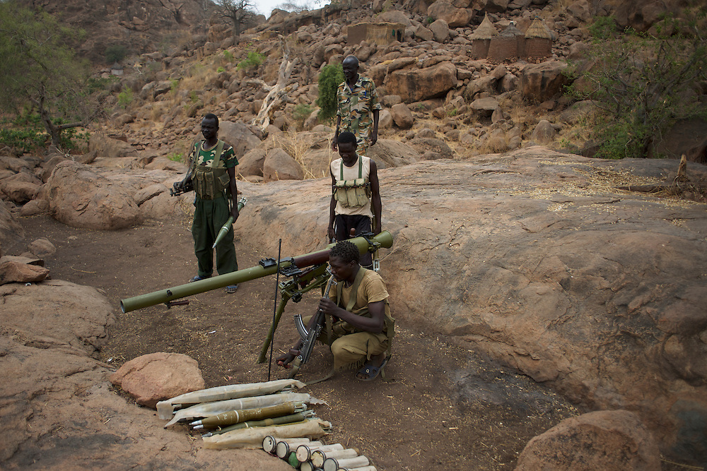 Sudan People's Liberation Movement (SPLA-N) rebel fighters take defensive positions in Jebel Kwo military base, ahead of an attack on Sudan's Armed Forces (SAF) positions near Tess village in the rebel-held territory of the Nuba Mountains in South Kordofan.