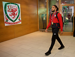 DUBLIN, IRELAND - Tuesday, October 16, 2018: Wales' captain Ashley Williams arrives before the UEFA Nations League Group Stage League B Group 4 match between Republic of Ireland and Wales at the Aviva Stadium. (Pic by David Rawcliffe/Propaganda)