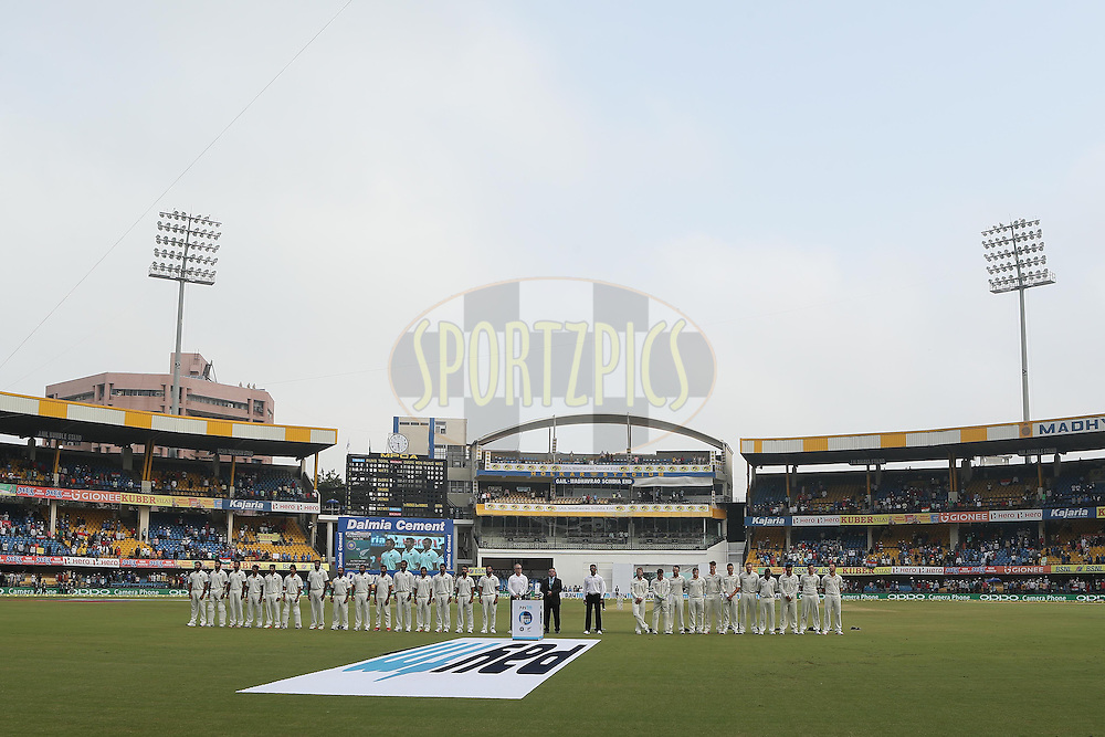 The players line up for the national anthems during day 1 of the third test match between India and New Zealand held at the Holkar stadium in Indore on the 8th October 2016.<br /> <br /> Photo by: Ron Gaunt/ BCCI/ SPORTZPICS