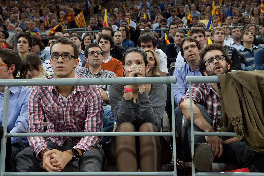 The last miting of CIU Party in the Electioneergin for the Catalonia's Independence Call.  Palau Sant Jordi, 23th of November. CIU is the Government Party who convened advanced elections.