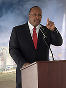 Apr 15, 2019; Inglewood, CA, USA; Inglewood mayor James Butts aka James T. Butts speaks at press conference at the LA Stadium & Entertainment District construction site. The site will be the home of the Los Angeles Chargers and the Los Angeles Rams, Super Bowl LVI in 2022, the College Football National Championship in 2023 and the opening and closing ceremonies of the 2028 Olympic Games.