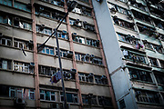 Hong Kong, China - Buildings in the Quarry Bay area of Hong Kong on April 29, 2018 in Hong Kong, China. The independent territory, the world's tenth largest trading power and third largest financial centre, is experiencing major overpopulation problems.