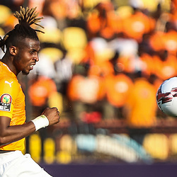 24 June 2019, Egypt, Cairo: Ivory coast's Jonathan Kodjia in action during the 2019 Africa Cup of Nations Group D soccer match between South Africa and Ivory coast at Al-Salam Stadium. <br /> Photo : PictureAlliance / Icon Sport