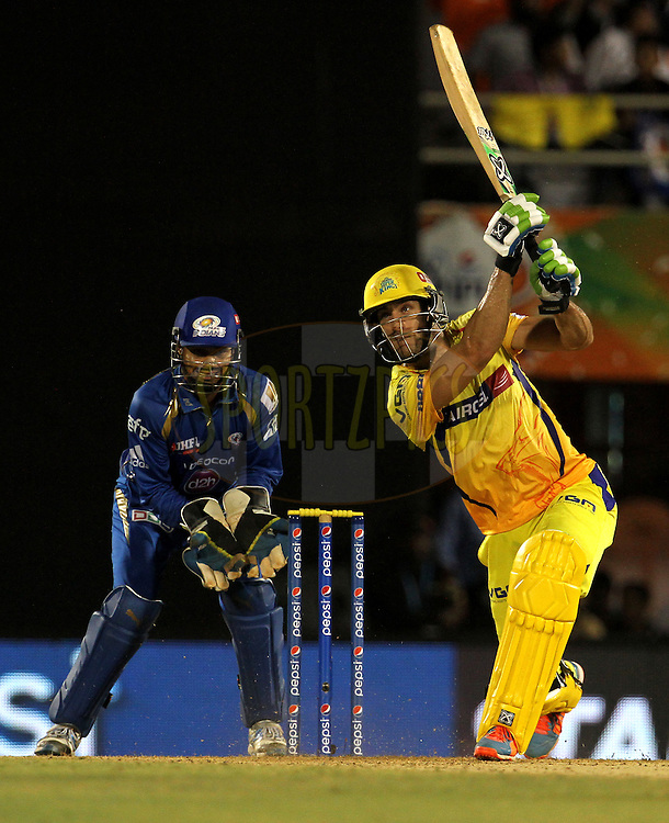 Faf du Plessis of The Chennai Superkings plays a shot during the eliminator match of the Pepsi Indian Premier League Season 2014 between the Chennai Superkings and the Mumbai Indians held at the Brabourne Stadium, Mumbai, India on the 28th May  2014<br /> <br /> Photo by Vipin Pawar / IPL / SPORTZPICS<br /> <br /> <br /> <br /> Image use subject to terms and conditions which can be found here:  http://sportzpics.photoshelter.com/gallery/Pepsi-IPL-Image-terms-and-conditions/G00004VW1IVJ.gB0/C0000TScjhBM6ikg