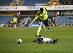 Penalty as Birmingham City's Aaron Martin brings down Millwall's Simeon Jackson - Photo mandatory by-line: Robin White/JMP - Tel: Mobile: 07966 386802 15/03/2014 - SPORT - FOOTBALL - The Den - Millwall - Millwall v Birmingham City - Sky Bet Championship