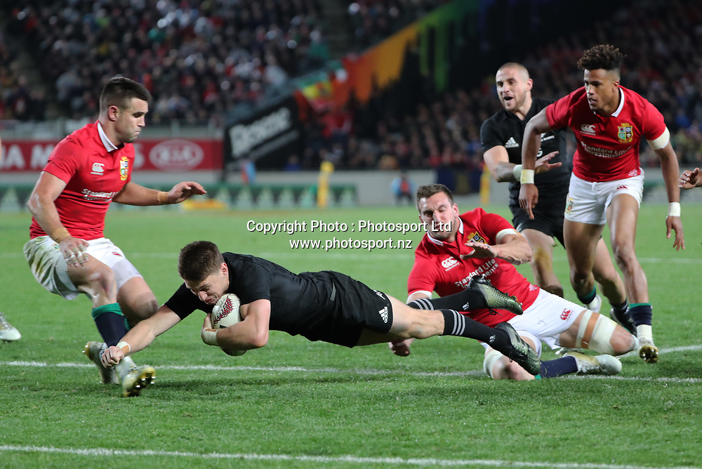 All Black Beauden Barrett dives for the line during the 30-15 All Black win in the first test match of the DHL Lions Series 2017 played between the All Blacks and the British and Irish Lions at Eden Park, Auckland on 24th June 2017. <br /> Copyright Photo; Peter Meecham/ www.photosport.nz