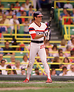 CHICAGO - 1986:  Reid Nichols of the Chicago White Sox bats during an MLB game at Comiskey Park in Chicago, Illinois during the 1986 season . (Photo by Ron Vesely)  Subject:   Reid Nichols