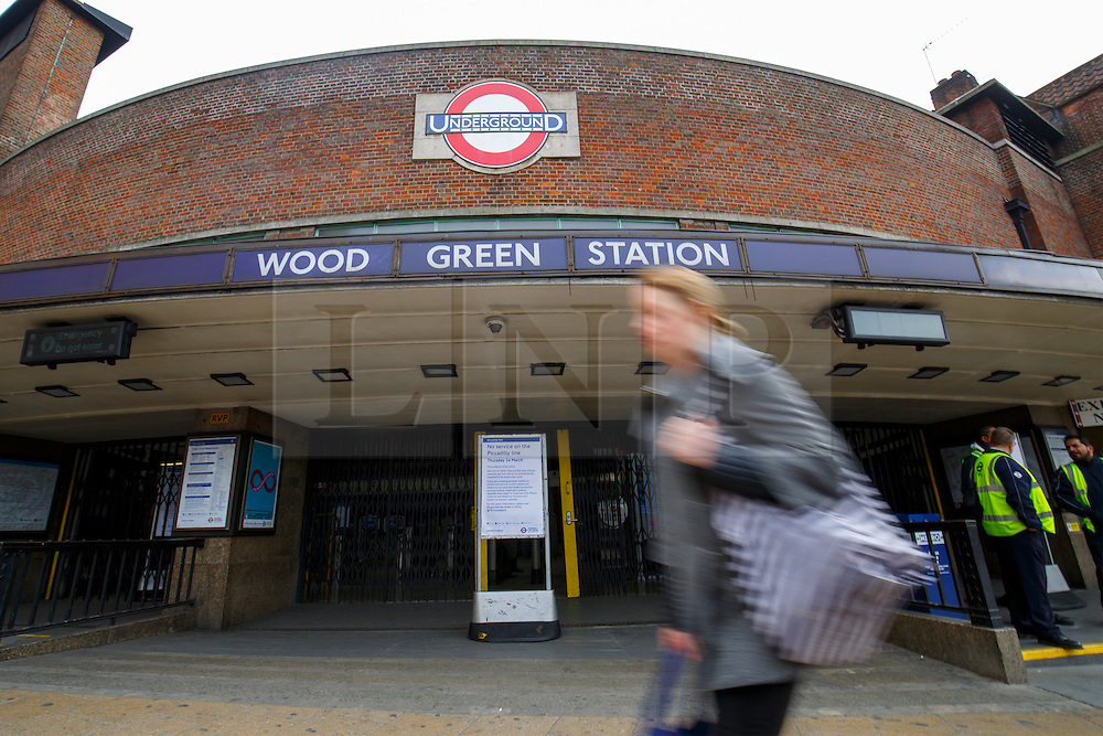 © Licensed to London News Pictures. 24/03/2016. London, UK. Wood Green station is closed as Piccadilly Line tube drivers' strike action shuts down the entire line on Thursday, 24 March 2016 in London. Photo credit: Tolga Akmen/LNP