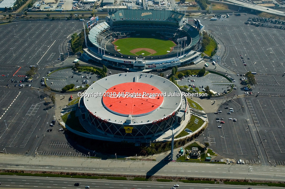 Aerial view of Oracle and Oakland Athletic Stadiums  California