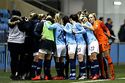Manchester City Women's Team huddle during the FA Women's Super League match between Manchester City Women and Everton Women at the Sport City Academy Stadium, Manchester, United Kingdom on 20 February 2019.