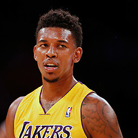 06 October 2013: Los Angeles Lakers shooting guard Nick Young (0) rests during the Denver Nuggets 97-88 victory over the Los Angeles Lakers at the Staples Center, Los Angeles, California, USA.