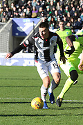 St Mirren midfielder Brad Lyons (14) looks to play a pass during the Ladbrokes Scottish Premiership match between St Mirren and Hibernian at the Paisley 2021 Stadium, St Mirren, Scotland on 27 January 2019.