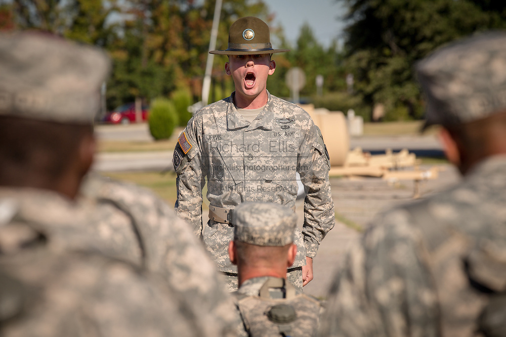 A US Army Drill Sergeant instructor barks orders to candidates at the US Army Drill Instructors School Fort Jackson during close order drill exercises September 27, 2013 in Columbia, SC. While 14 percent of the Army is women soldiers there is a shortage of female Drill Sergeants.