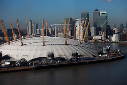 UK ENGLAND LONDON 27FEB15 - View of the Millenium Dome and the Docklands across the river Thames, London. The dome, now part of The O2, is the largest of its type in the world.<br /> <br /> <br /> <br /> jre/Photo by Jiri Rezac<br /> <br /> <br /> <br /> © Jiri Rezac 2015