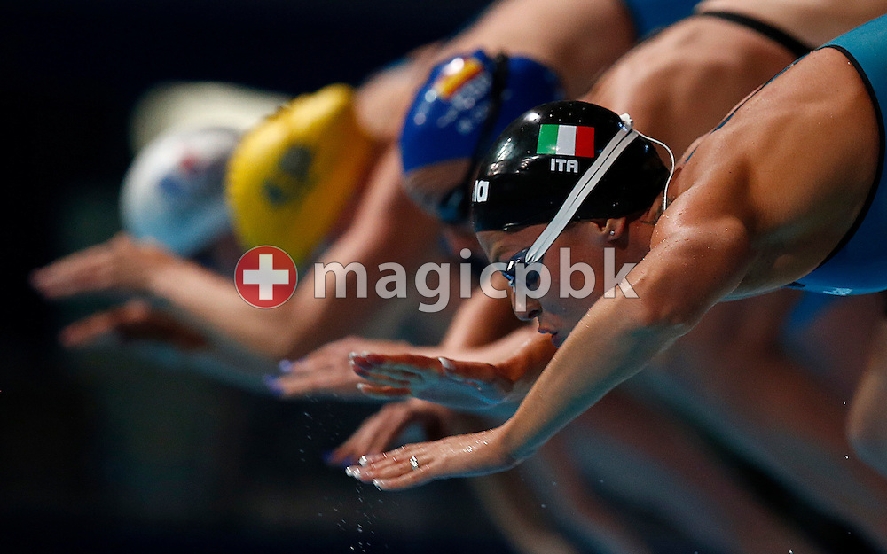 Federica Pellegrini of Italy competes in the women's 200m Freestyle Final during the 15th FINA World Aquatics Championships at the Palau Sant Jordi in Barcelona, Spain, Wednesday, July 31, 2013. (Photo by Patrick B. Kraemer / MAGICPBK)