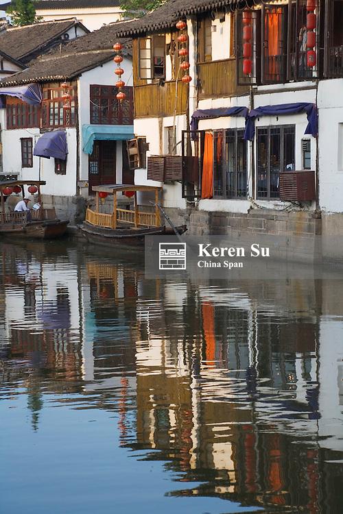 Traditional architecture along the Grand Canal in the water town, Zhujiajiao, near Shanghai, China