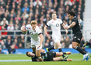 Picture by Andrew Tobin/Tobinators Ltd +44 7710 761829<br /> 16/11/2013<br />  Billy Twelvetrees of England is tackled by Dan Carter of New Zealand during the QBE Internationals  match at Twickenham Stadium, Twickenham.