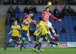 Exeter City's Christian Ribeiro gets a header away - Photo mandatory by-line: Neil Brookman/JMP - Mobile: 07966 386802 - 24/01/2015 - SPORT - Football - Oxford - Kassam Stadium - Oxford United v Exeter City - Sky Bet League Two