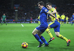 Ben Chilwell of Leicester City (L) and Seamus Coleman of Everton in action - Mandatory by-line: Jack Phillips/JMP - 26/12/2016 - FOOTBALL - King Power Stadium - Leicester, England - Leicester City v Everton - Premier League