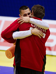 Dragan Gajic of Slovenia and Mirko Alilovic of Croatia before practice of Slovenia Men Handball team 1 day before the beginning of 10th EHF European Handball Championship Serbia 2012, on January 14, 2012 in Vrsac, Serbia.  (Photo By Vid Ponikvar / Sportida.com)