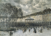 Place de Voges on a Concert Day'.  Street scene with musicians playing on the bandstand. Frank Myers Boggs (1855-1926) American painter.