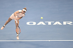 DOHA, Feb. 14, 2018  Simona Halep of Romania serves during the single's second round match against Ekaterina Makarova of Russia at the 2018 WTA Qatar Open in Doha, Qatar, on Feb. 14, 2018. Simona Halep won 2-0.   wll) (Credit Image: © Nikku/Xinhua via ZUMA Wire)