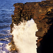Hawaii, Hawaii Volcanoes, Hloei Sea Arch, Holei, Pacific<br /> Surf smashing against the Holei Sea Arch in Hawaii Volcanoes National Park, Hawaii.