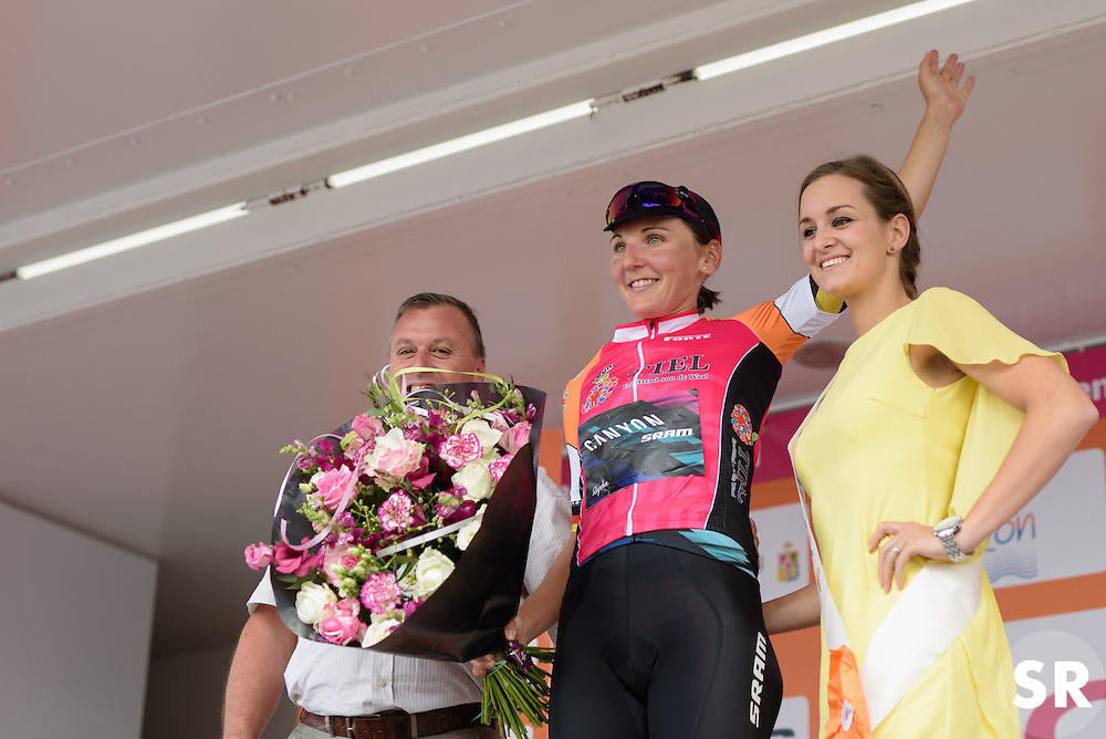 Stage winner, Lisa Brennauer takes in the applause at the 116 km Stage 5 of the Boels Ladies Tour 2016 on 3rd September 2016 in Tiel, Netherlands. (Photo by Sean Robinson/Velofocus).