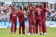 Wicket - Rovman Powell of West Indies celebrates taking the wicket of Ben Stokes of England during the One Day International match between England and West Indies at the Brightside County Ground, Bristol, United Kingdom on 24 September 2017. Photo by Graham Hunt.