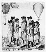 A Group of Aeronauts. Vincenzo Lunardi (1759-1806), in Edinburgh for his ascent of 5 October 10 1785, surrounded by local ballooning enthusiasts, l.to r. John Mitchell?, James Tytler, chemist, John Spottiswood, Magistrate, James Nielson, Myles M'Phail, caddy and tavern keeper. Etching by John Kay, Edinburgh, 1785