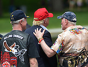 Presumptive Republican presidential nominee Donald Trump talks with  veterans after speaking during the Rolling Thunder rally in Washington, D.C., May 29, 2016.   Photo by Molly Riley/UPI
