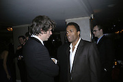Jack Davenport and Ray Fearon, Laurence Olivier Awards 2007. Grosvenor House Hotel. London. 8 February 2007.  -DO NOT ARCHIVE-© Copyright Photograph by Dafydd Jones. 248 Clapham Rd. London SW9 0PZ. Tel 0207 820 0771. www.dafjones.com.