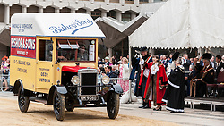 © Licensed to London News Pictures. 15/07/2015. London, UK. The historic Marking of Carts, run by The Worshipful Company of Carmen, took place in Guildhall.  Horse drawn carts, steam-powered and as modern modes of transport all received a branding as part of the ceremony.  Leading the ceremony were Sheriff Fiona Adler and Chief Commoner, Deputy Billie Dove OBE. Photo credit : Stephen Chung/LNP