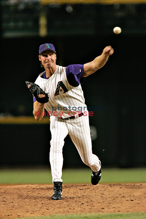 Randy Johnson pitches for the Arizona Diamondbacks in a game against the San Francisco Giants on July 20, 2004 Phoenix, AZ.