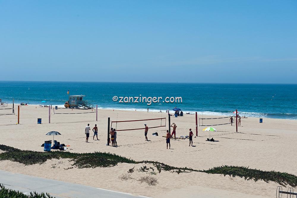 Manhattan; Beach; CA; Lifeguard Station, Volleyball, Beach,  Pacific Ocean Waves