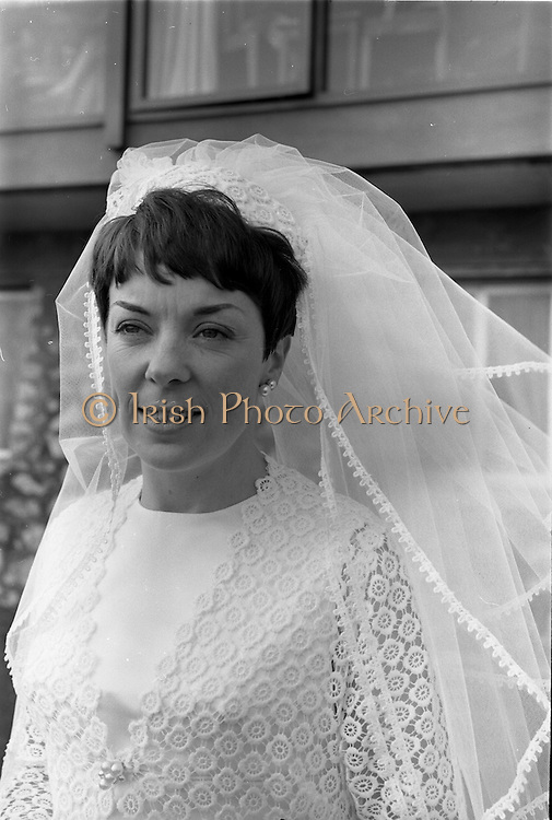 """16/09/1967<br /> 09/16/1967<br /> 16 September 1967<br /> Wedding of Mr Francis W. Moloney, 28 The Stiles Road, Clontarf and Ms Antoinette O'Carroll, """"Melrose"""", Leinster Road, Rathmines at Our Lady of Refuge Church, Rathmines, with reception in Colamore Hotel, Coliemore Road, Dalkey. Image shows the Bride outside the hotel."""