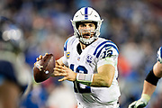 NASHVILLE, TN - DECEMBER 30:  Andrew Luck #12 of the Indianapolis Colts rolls out to pass during a game against the Tennessee Titans at Nissan Stadium on December 30, 2018 in Nashville, Tennessee.  The Colts defeated the Titans 33-17.   (Photo by Wesley Hitt/Getty Images) *** Local Caption *** Andrew Luck