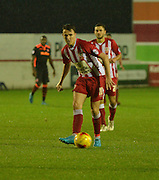 Accrington Stanley Midfielder, Sean McConville passes the ball short during the Sky Bet League 2 match between Accrington Stanley and Newport County at the Fraser Eagle Stadium, Accrington, England on 14 November 2015. Photo by Mark Pollitt.