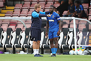 AFC Wimbledon manager Neal Ardley talking to AFC Wimbledon defender Deji Oshilaja (4) during the Pre-Season Friendly match between Borehamwood and AFC Wimbledon at Meadow Park, Borehamwood, United Kingdom on 28 July 2018. Picture by Matthew Redman.