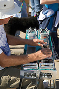 Missouri MO USA, A man playing a pedal steel guitar at the apple butter festival in Kimmswick October 2006
