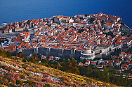 Elevated view of Dubrovnik, Croatia at sunset, a UNESCO World Heritage Site